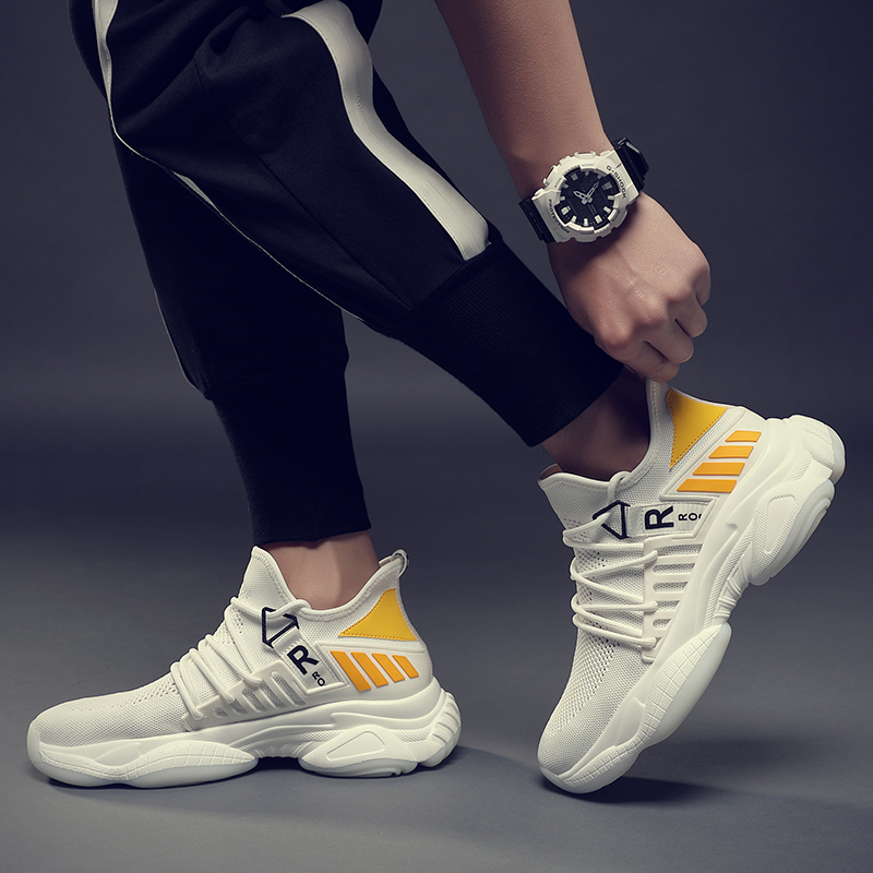 Summer men 39 s casual shoes fly weave comfortable breathable non leather fashion trend outdoor sports white shoes in Men 39 s Casual Shoes from Shoes