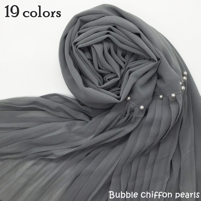fashion beads Patchwork pleat bubble chiffon pearl Wrinkle shawls muslim hijabs drape stitching muslim scarves/scarf 19 colors