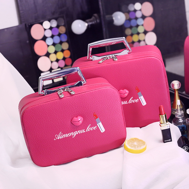 8da914d8e575 2017 Fashion Women Cute PU Leather Lip & Lipstick pattern Cosmetic  Organizer bag Lady Korean Style Storage Makeup bags-in Cosmetic Bags &  Cases from ...
