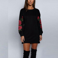 2017 Black White autumn winter Sexy Embroidery Flower Dress plus size xxl O-Neck Long Sleeve Straight Plain Fall Casual Dresses