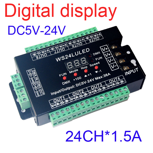 10 pieces free shipping 24 channel DMX512 RGB controller  have Digital display 8groups RGB 24CH DMX512 decoder DC5-24V input 24ch 24channel easy dmx512 dmx decoder led dimmer controller dc5v 24v each channel max 3a 8 groups rgb controller iron case