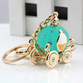 Fashion Men Women plating gold silver chain keychain pendant crystal pumpkin carriage paint keychain jewelry gift
