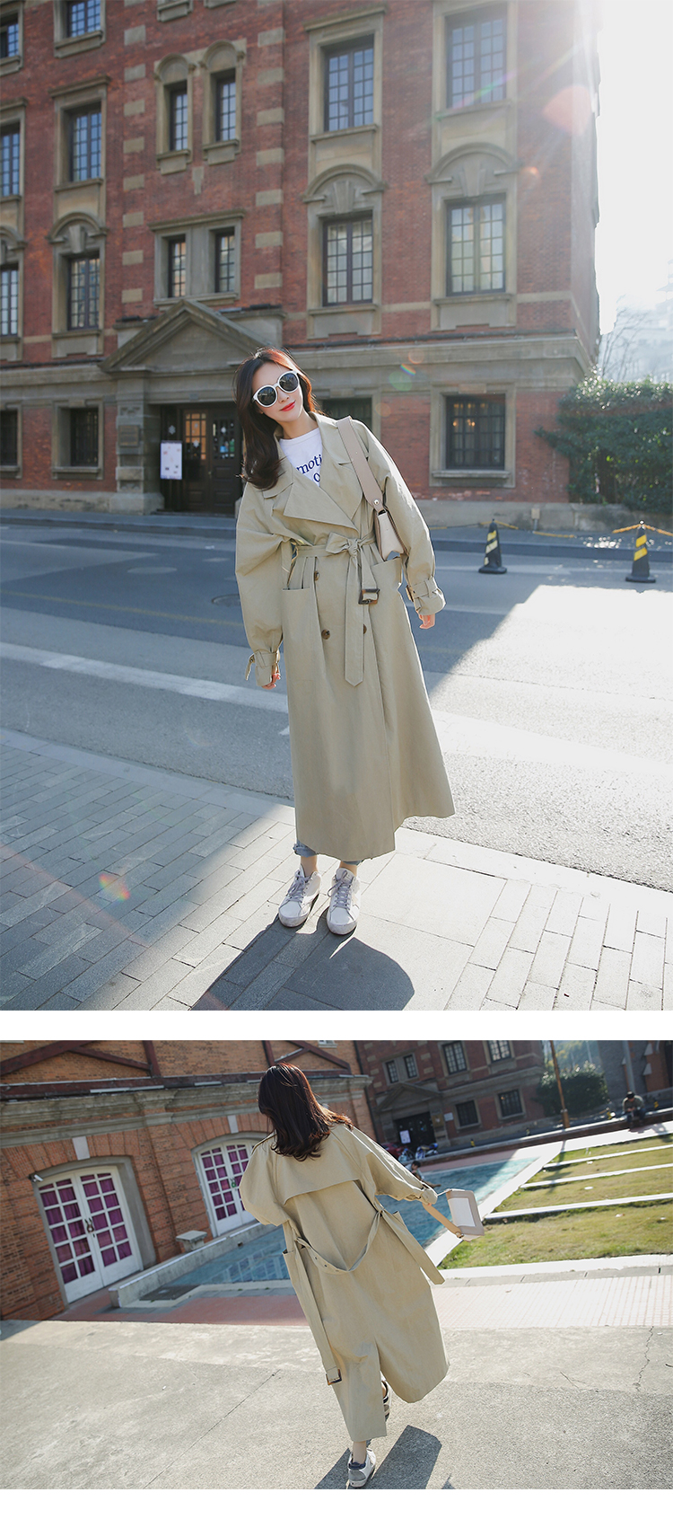 new arrival women fashion holiday comfortable loose trench coat professional OL temperament solid girls warm outdoor long trench 5