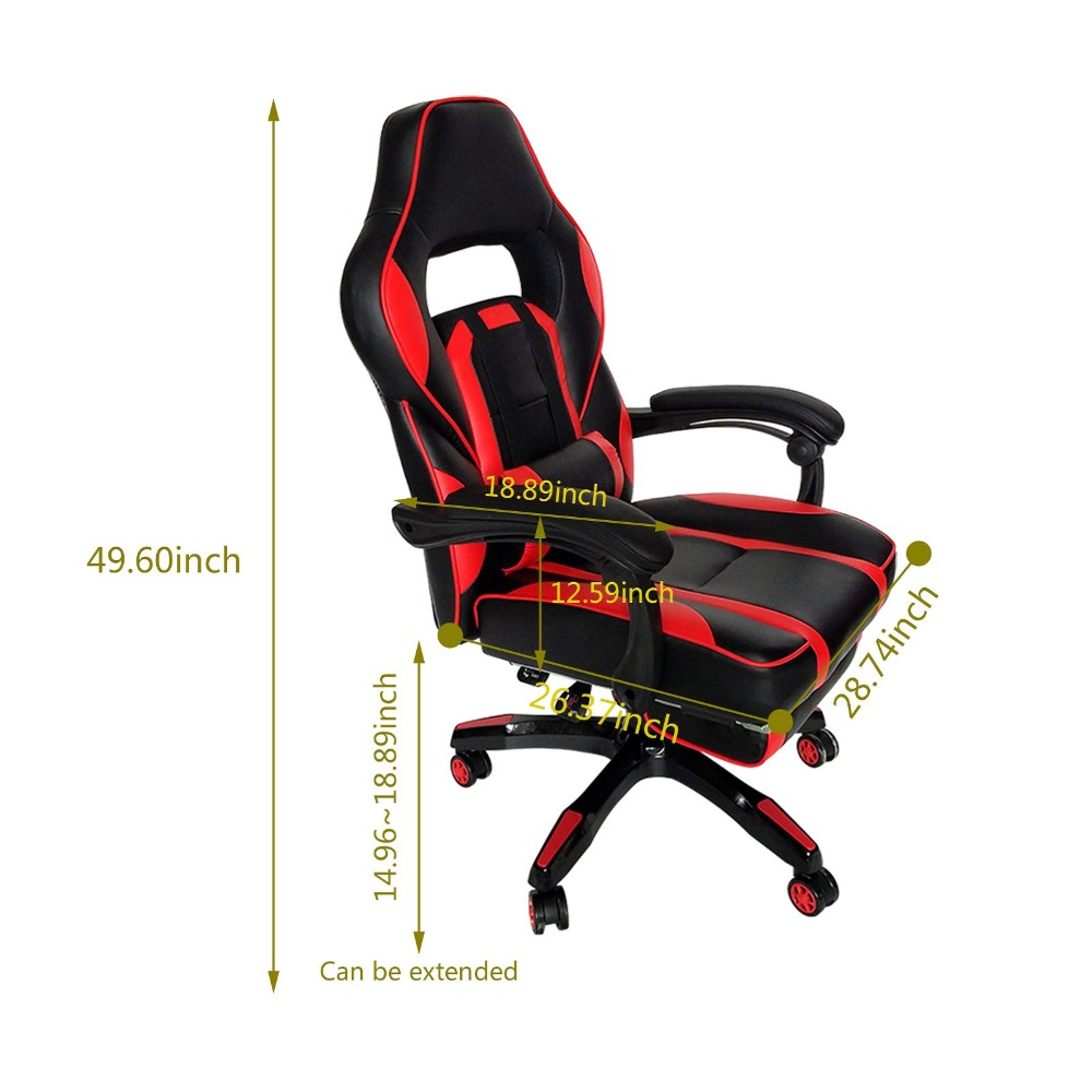 Купить с кэшбэком High Back Racing Style Gaming Chair Adjustable Swivel PC Game Chair Office Desk Chair