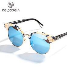 Colossein Мода 2017 г. Солнцезащитные очки для женщин Для женщин Кошачий глаз Лето поляризованные линзы круглой Очки пляжные Стиль очки с Черепаха Рамка