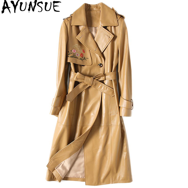 AYUNSUE Real Sheepskin Coat Women Long Autumn Genuine Leather Jacket Embroidery Double Breasted Trench Female With Belt DLF5809