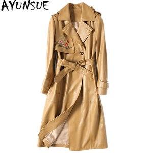 Image 1 - AYUNSUE veste dautomne en cuir véritable pour femme, manteau femme avec ceinture DLF5809
