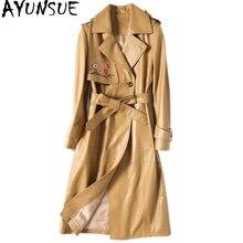 Ayunsue real casaco de pele carneiro feminino longo outono jaqueta de couro genuíno bordado duplo breasted trench feminino com cinto dlf5809