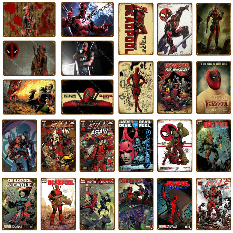 Marvel Movie Comic Superhero Deadpool Wall Sticker Metal Poster Tin Signs Vintage Wall Art Decorative Plaque Home Wall Decor