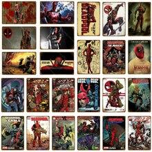 Marvel película cómica superhéroe Deadpool pared pegatina cartel Metal estaño signos pared vintage arte decorativo placa casa decoración de la pared