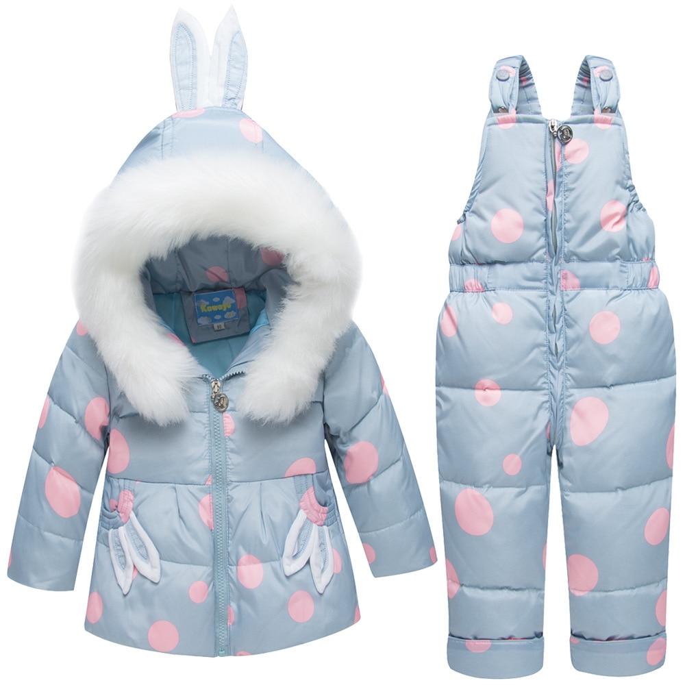 -30 hiver russie enfants Snowsuit vêtements ensemble 80% duvet de canard pantalon-veste pour bébé filles garçons manteau poney pardessus oreille de lapin