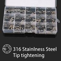 260Pcs DIN914 M3 M4 M5 M6 316 Stainless Steel Grub Screws Cone Point Hexagon Hex Socket