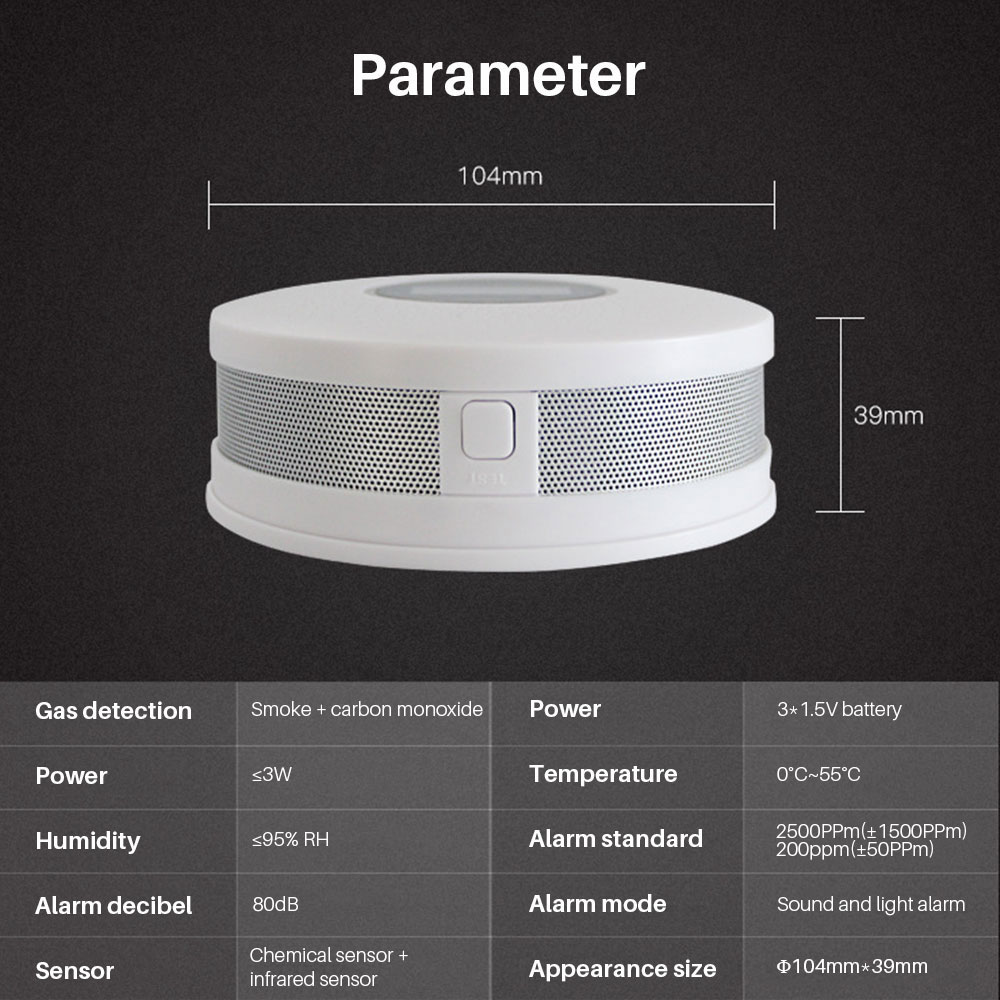 Image 5 - Smoke Detector Sensor Fire Alarm Universal CO&Smoke Detector Carbon Monoxide For Kitchen/Restaurant/Hotel/Home Security-in Smoke Detector from Security & Protection