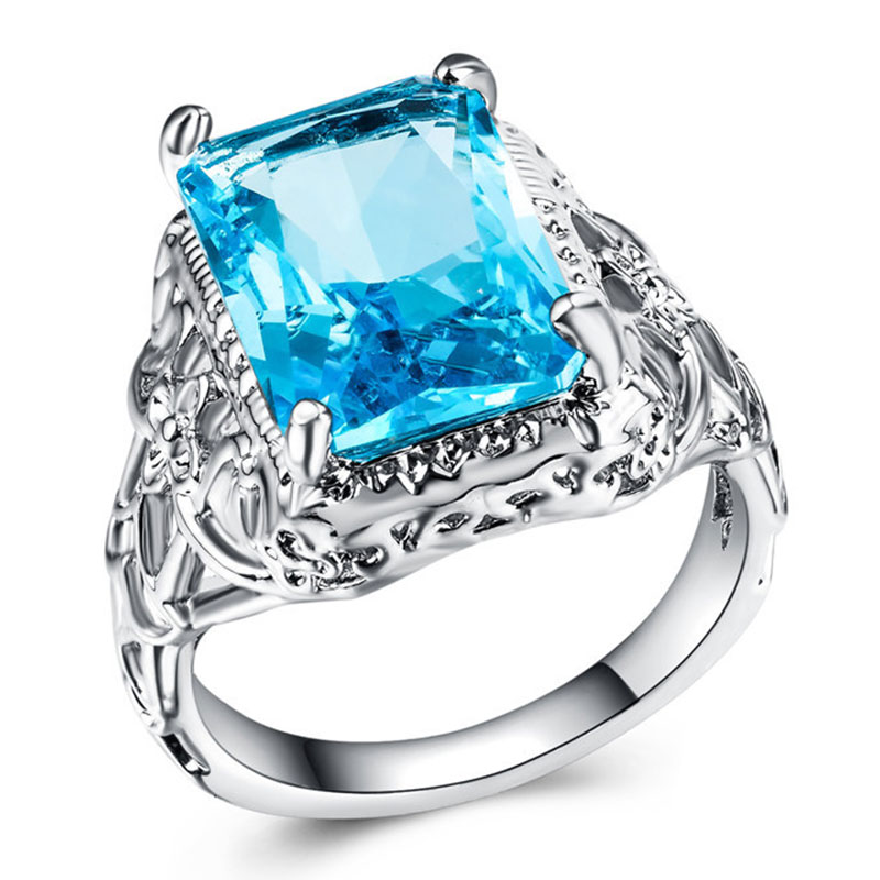 Big Acid Blue CZ Zircon Stone Vintage Silver Rings for Women Fashion Wedding Engagement Jewelry Ring Size 6 7 8 9 10 in Rings from Jewelry Accessories