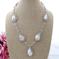 N082011 19 White Keshi Pearl Chain Necklace