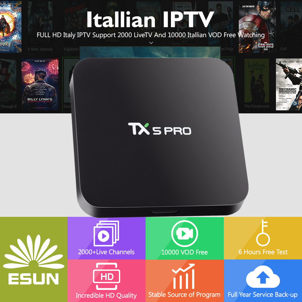 1 Year ESUNTV in TX5PRO Smart IPTV Set Top Box Android TV Box 2/16G Quad Core Europe IPTV Italy IPTV Albania ex-yu channels BOX мультимедиа плеер iconbit movie iptv quad