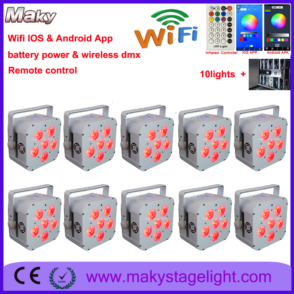 road case10pack wireless dmx led uplight 618w 6in1 battery operated up lights with ios android app control wedding dj light