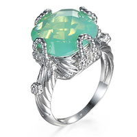 Women's Luxury Silver Plated Green Rhinestone Wedding Ring Band Jewelry Gift
