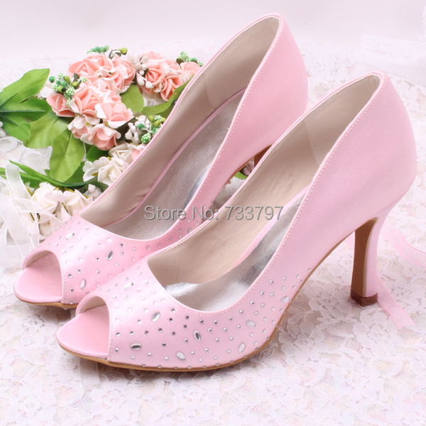 ФОТО Wedopus Hot Women Wedding Bridal Shoes Satin Peep Toe 9CM Lady's Prom High Heels Summer Sandals