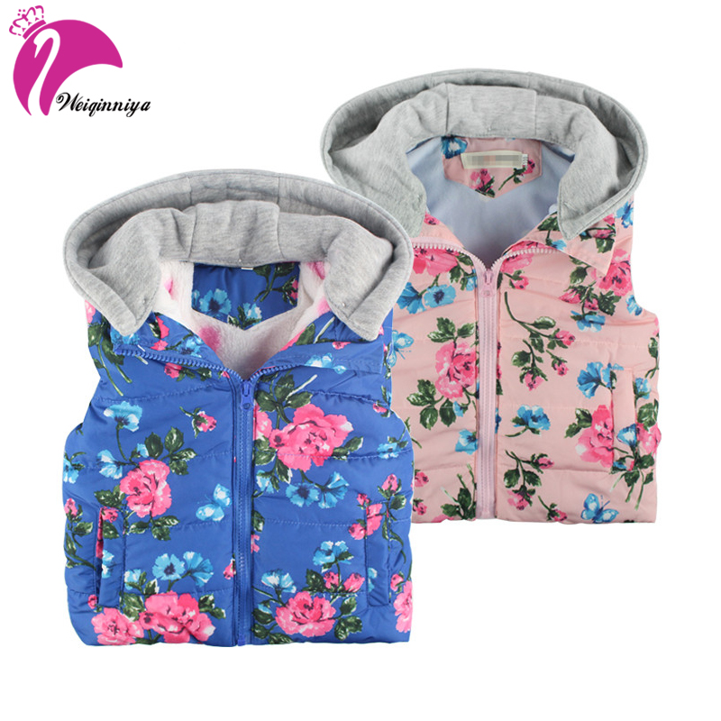 Kids Vests Baby Girl Vest Winter Hooded Toddler Cotton Thick Fashion Girl Print Waistcoats Windbreaker Windproof Kid Vest Fleece baby boy outerwear warm fleece vest kids hooded jacket coats autumn children clothes windproof hoody vest baby girl waistcoats