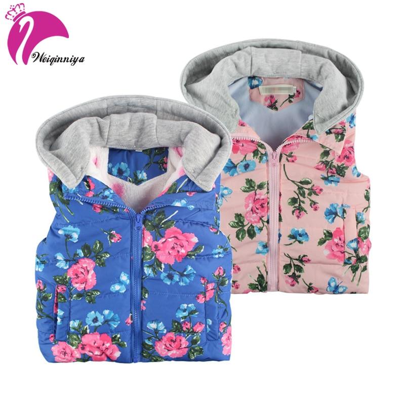 Kids Vests Baby Girl Vest Winter Hooded Toddler Cotton Thick Fashion Girl Print Waistcoats Windbreaker Windproof Kid Vest Fleece