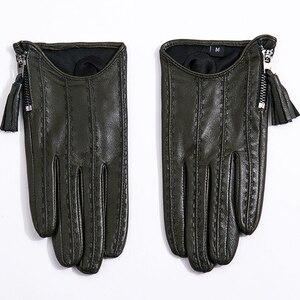 Image 3 - Gants dautomne hiver en cuir véritable pour femmes, Style court, doublure en velours fin, doublure en peau de mouton, fermeture éclair, TB80