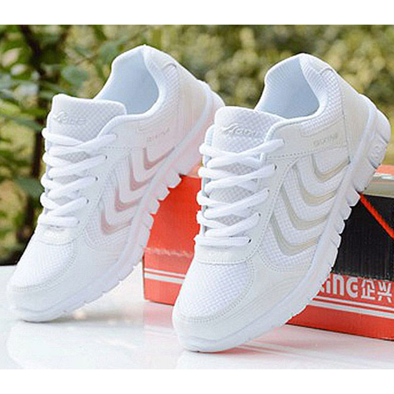 Breathable Fashion Women Sneakers Shoes 2018 White Colors Women Casual Shoes Laces Tenis Feminino Fast delivery mesh shoes womanBreathable Fashion Women Sneakers Shoes 2018 White Colors Women Casual Shoes Laces Tenis Feminino Fast delivery mesh shoes woman