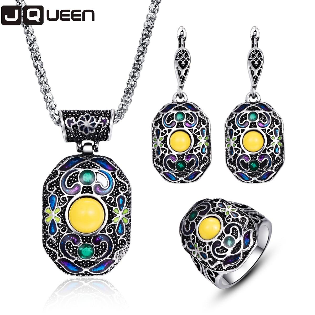 Silver Turkish Platinum: Antique Silver Color Turkish Jewellery Set Colorful Enamel