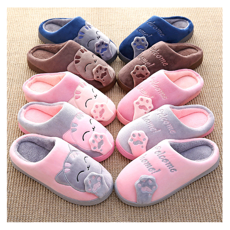 Women Winter Autumn Warm Plush Home Slippers Cartoon Lucky Cat Shoes Non Slip Soft Slippers Indoor Bedroom Couple Floor Shoes in Slippers from Shoes