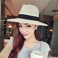 Элегантный Черный Джаз Шляпы Для Женщин Новый 2016 Белое Солнце Шляпа Мужчины формальное Синий Летний Пляж Cap Luxury Brand Письмо М Fedora Соломенная Шляпка