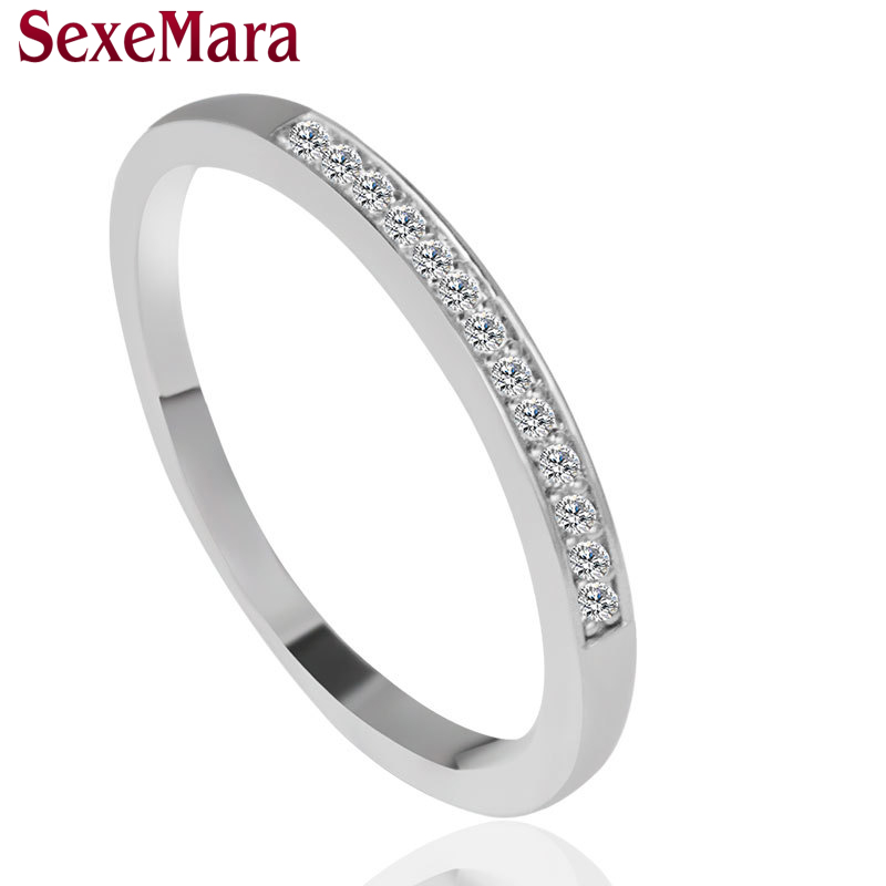 High Quality Korea Popular Style simple Engagement Rings for Girls Clear Crystal Silver Color Wedding Ring women jewelry Anillos