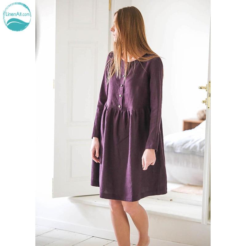 LinenAll original femmes français 100% lin à manches longues robe en lin lâche long o-cou a-ligne robe femme