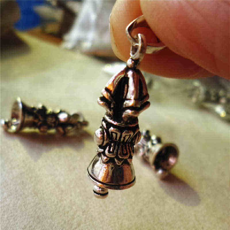 T9113 непальский 925 серебряный Прекрасный колокольчик Тибетский амулет талисманы