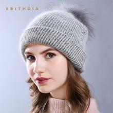 VEITHDIA 2018 Double layer Rabbit Fur Beanie Hat Women Winter knitted Woolen soft fox fur pompom Skullies Hat Cap Autumn Ladies