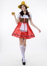 Halloween font b cosplay b font German Beer Festival Gary green midi red dress Female Maid