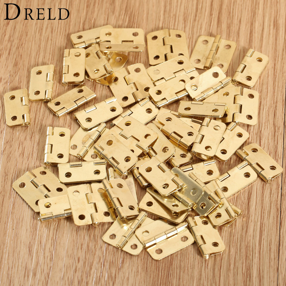 50Pcs 18x16mm Kitchen Cabinet Door Hinges Furniture Accessories 4 Holes Gold Drawer Hinges for Jewelry Boxes Furniture Fittings 2pcs set stainless steel 90 degree self closing cabinet closet door hinges home roomfurniture hardware accessories supply