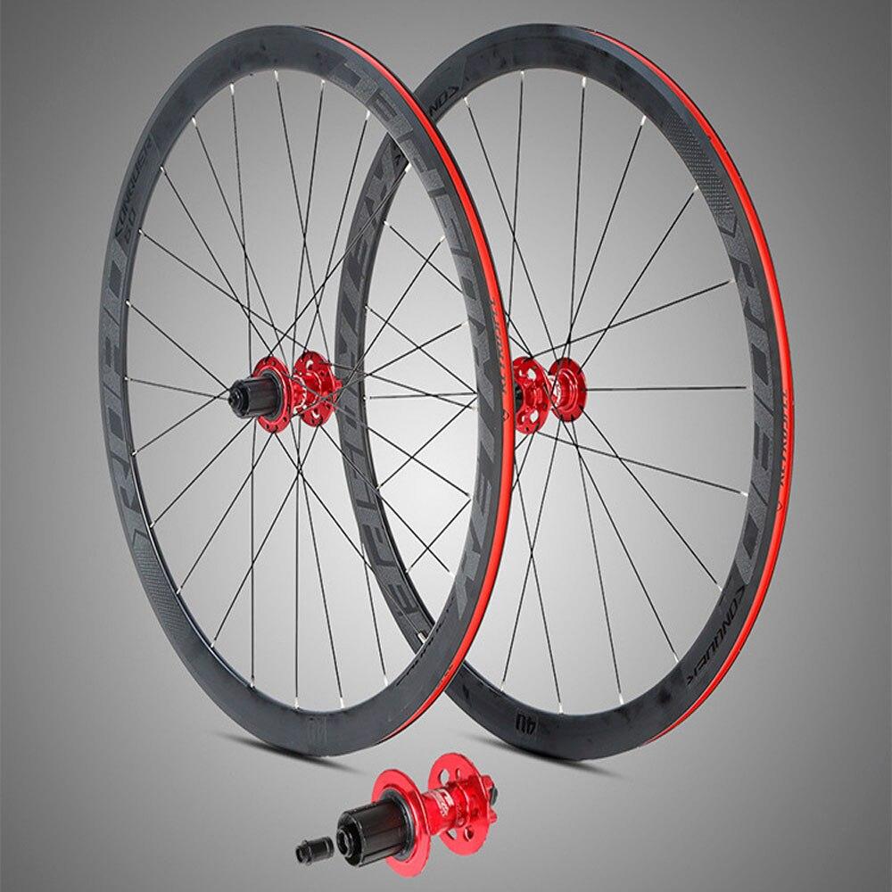 700C roues 30mm 40mm profondeur frein à disque course jantes FV Valve route vélo roues avec adaptateur convertir à travers l'essieu dégagement rapide