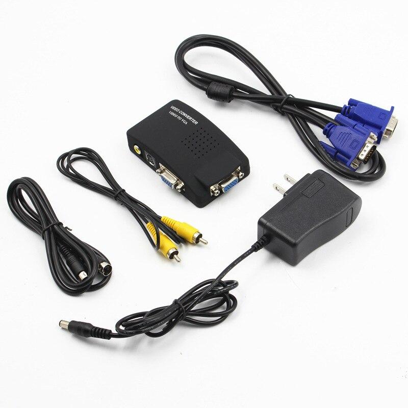 AV to VGA Video Converter Set Top Box to Monitor AV to VGA Adapter