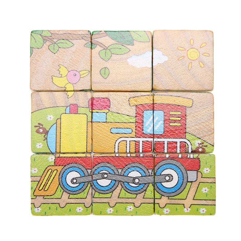 9Pcs/Set 3D Hexahedral Puzzle Cute Cartoon Pattern Six Sides Jigsaw Educational Toys Wooden Baby Transportation Puzzle K5BO