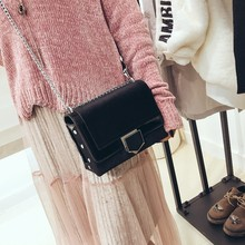 Glossy patchwork velvet Korean Fashion women black lock small square bag chain handbag shoulder Messenger bags Rivet Flap Female