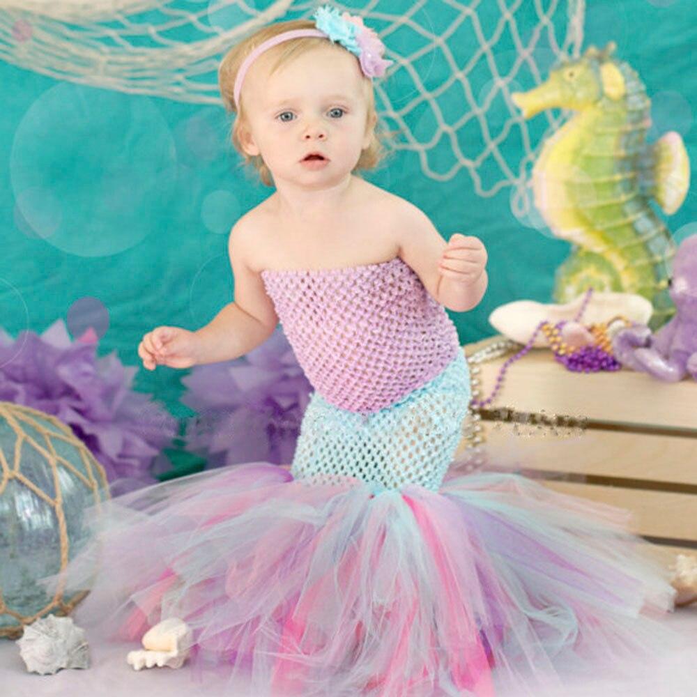 Kid Cartoon Ariel Cosplay Dress Child Little Mermaid Princess Ariel Cosplay Tutu Dress Girl Crnival Party Dress Costume
