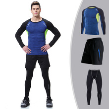 Pack of 3 Men Fitness Suit Compression Bodybuilding T shirt Legging Tights Clothes Workout Fitness Sportswear
