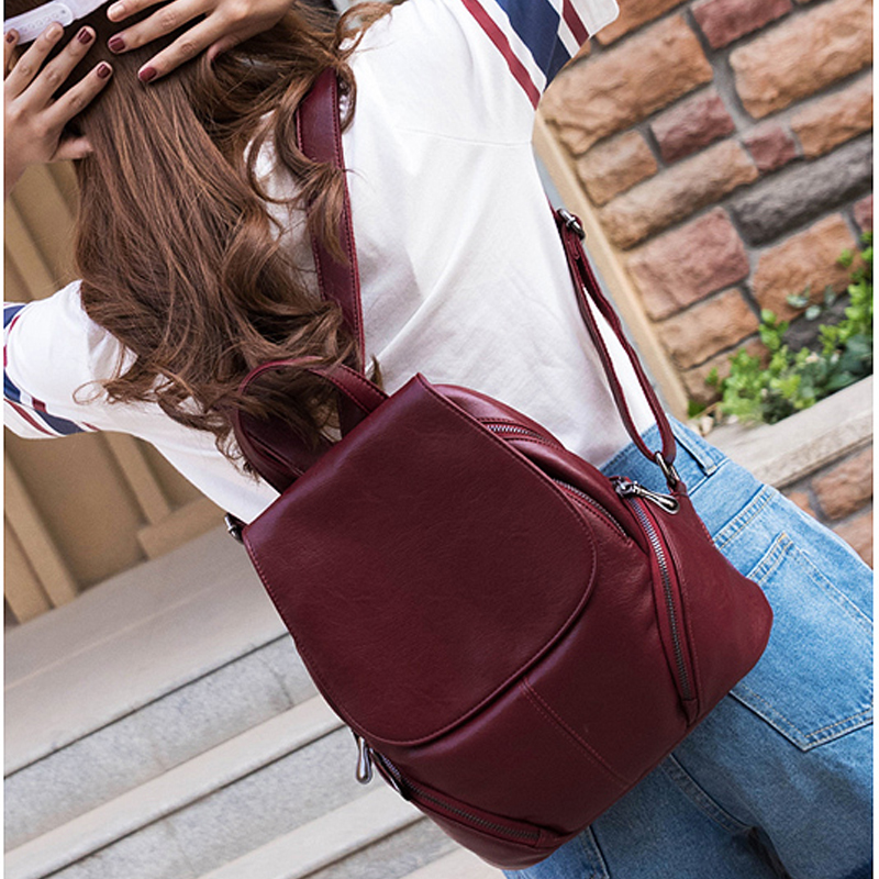 Quality Backpack Bagpack Women Fashion School Shoulder Bags Backpacks for Teenage Girls Female Black Leather Backpacks Sac A Dos in Backpacks from Luggage Bags