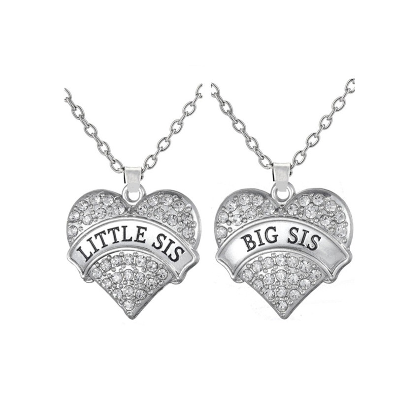 my shape Big Sis Little Sis Necklace With Big Clear Stone Heart Pendant Family Love Gift Children Jewelry for Sister