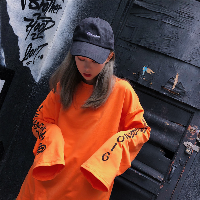 T-shirt Women Autumn O-Neck Letter Printed Loose Long BF Harajuku T-shirt Womens Korean Style Trendy Hip Hop Students Tees Chic 5