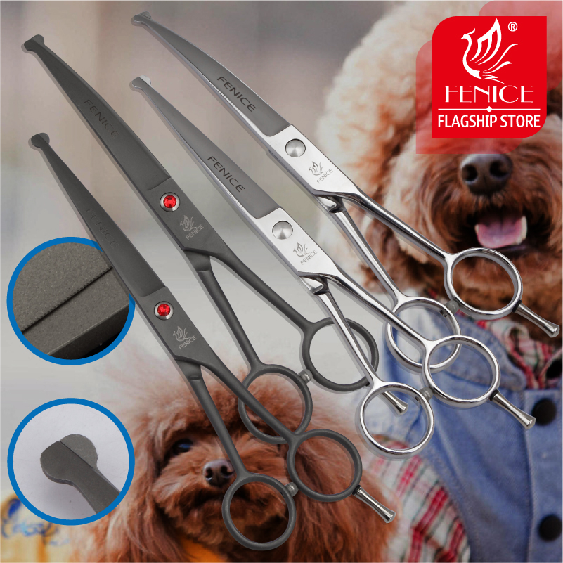 Fenice Professional 7,0-palčne škarje za hišne živali rezanje + ukrivljene škarje z varnostnim okroglim nasvetom Top za pasjo ušesno ušesno nogo obraz