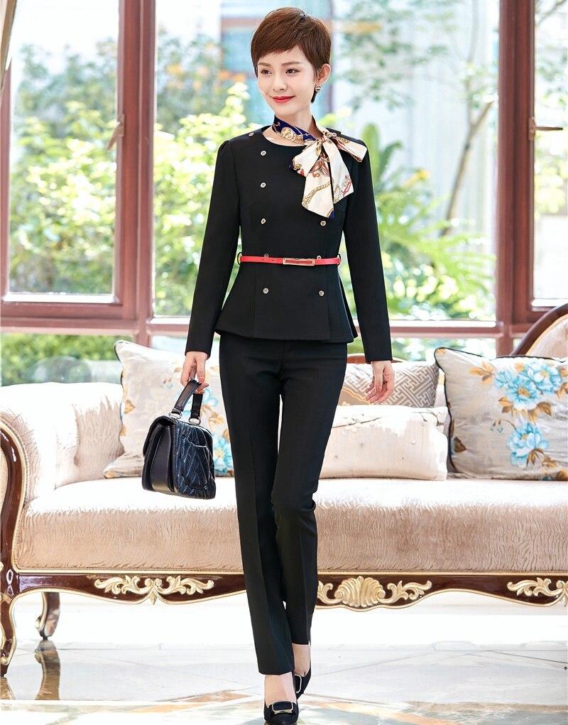 073795e6c108 US $49.2 7% OFF|Damen Schwarzer Blazer Frauen Anzügen Formale Bürokostüm  Arbeitskleidung mit Hose und Jacke Sets (gürtel und Schal Enthalten)-in ...