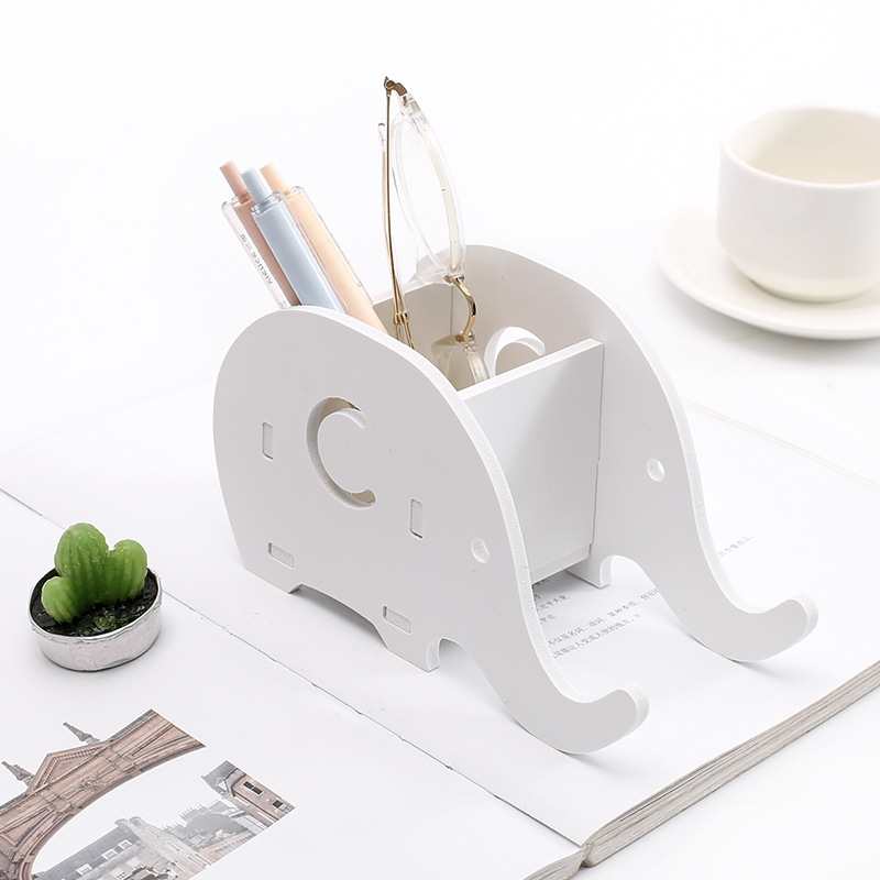 Creative Wooden Pen Holder Cute Students Elephant Multifunctional Storage Desk Organizer Office Stationery