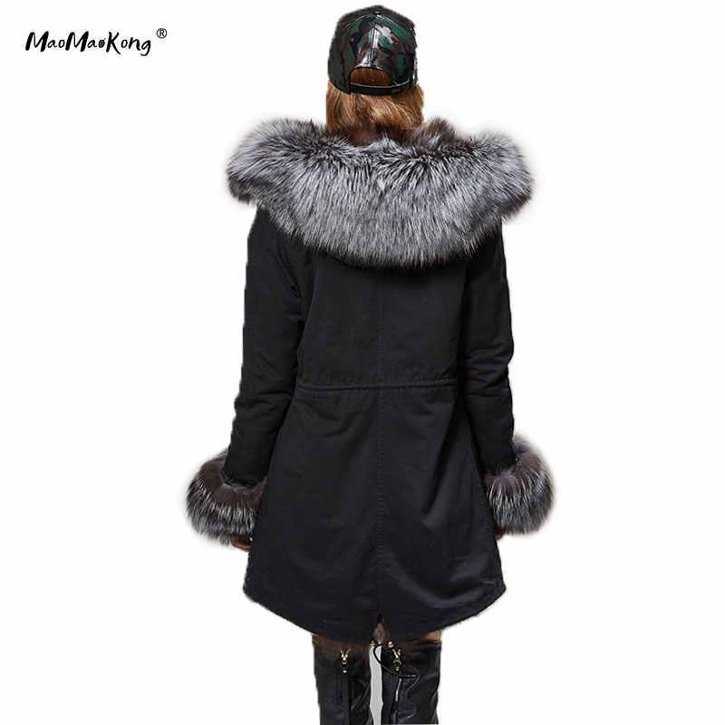 2018 ธรรมชาติ fox fur collar เสื้อฤดูหนาวเสื้อแจ็คเก็ตผู้หญิง outwear หนา parka ขนสัตว์ประดิษฐ์ซับ coat hooded