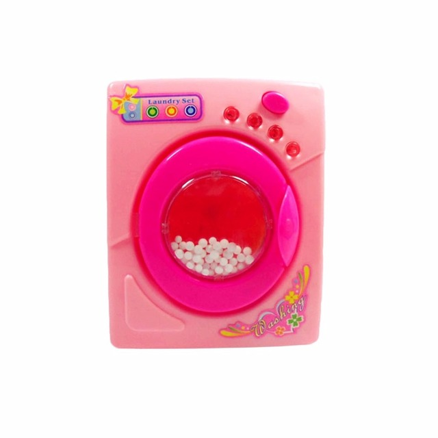 Plastic Dollhouse Miniature Furniture Children Simulation Toys Mini Electric Washing Machine Pretend Play Toys For Kids Girls 2